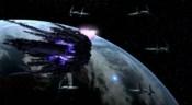 Křižník chvíli před zničením asgardskou flotilou