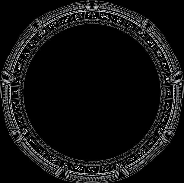 Rozložení symbolů na hvězdných branách galaxie Pegas